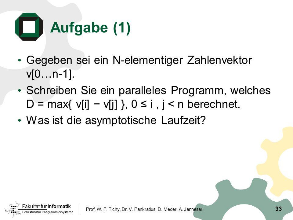 Aufgabe (1) Gegeben sei ein N-elementiger Zahlenvektor v[0…n-1].